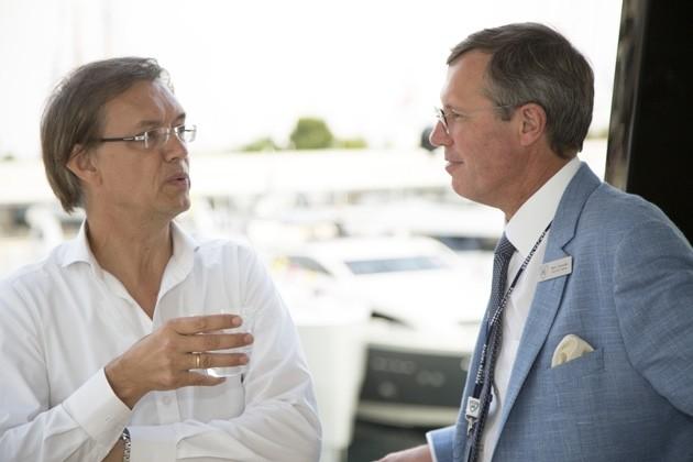 Frank Laupman and Mark Cavendish attending Baccarat SuperyachtWorld award presentation.jpg